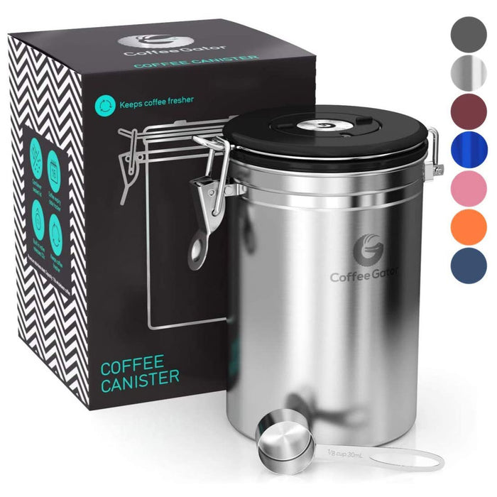Coffee Gator Stainless Steel Coffee Container - Fresher Beans and Grounds for Longer - Date-Tracker, CO2-Release Valve and Measuring Scoop - Silver
