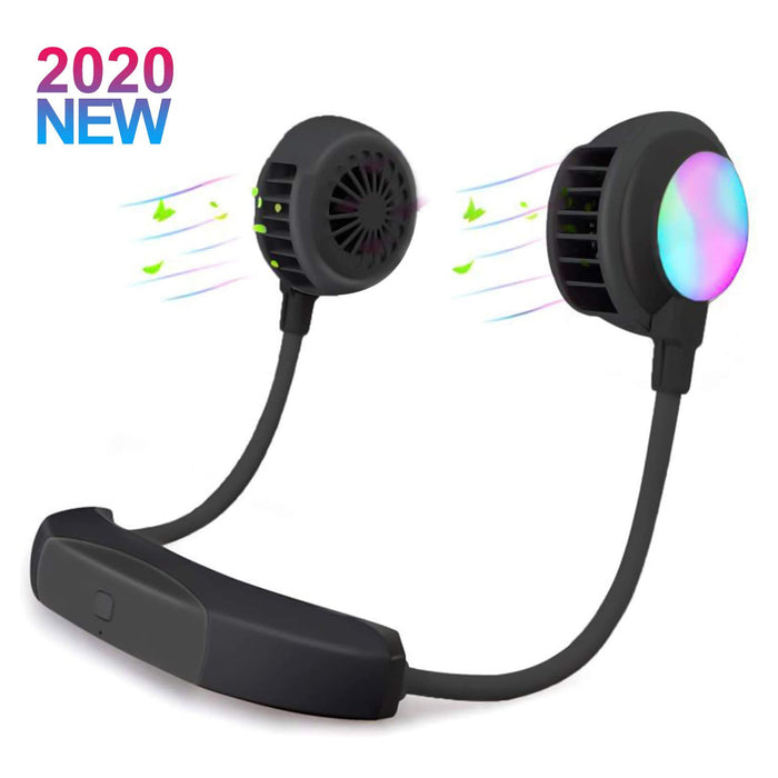 ZOLUIKIS Portable Neck Hanging Fan, Colorful LED Light, Hands Free Bladeless USB Rechargeable 2000mAh , 3 Speeds 180° Airflow Rotation(Black)