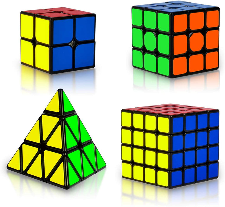 Coolzon Rubix Cube Set, Magic Speed Cube Bundle 2x2 3x3 4x4 Pyraminx Pyramid, Easy Turning 3D Puzzle Cube Games Toy Gift Pack of 4