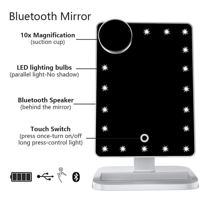 FENCHILIN Vanity Mirror with Lights Bluetooth Lighted Makeup Mirror Touch Screen Wireless Audio Speaker Dimmable Light Detachable 10X Magnification Rechargable Power (White)