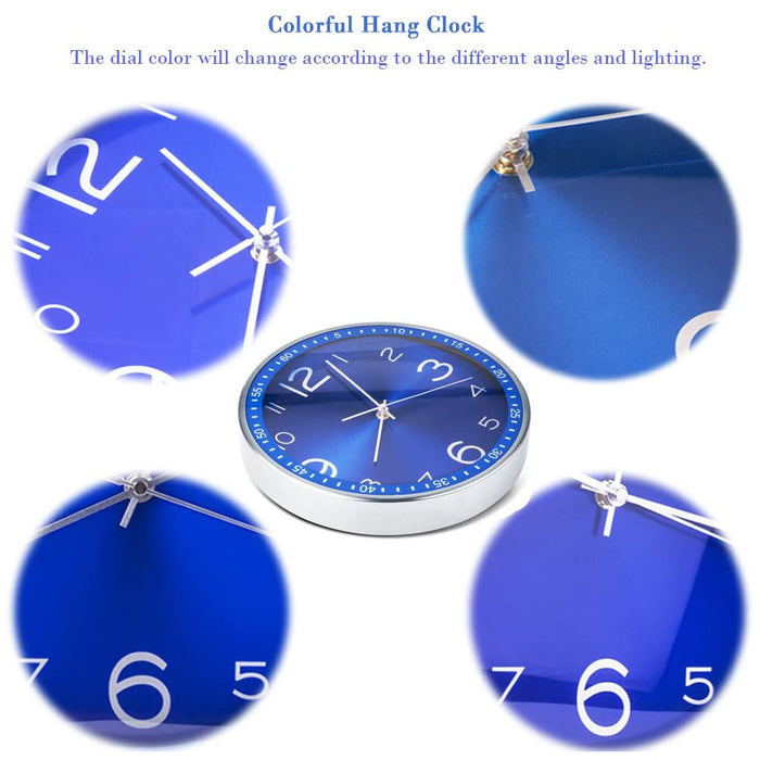 12 Inch Decorative,Silent Non Ticking Quartz Analog Metal Large Number Round Quiet Clocks,Home Decor Bright Color Clock