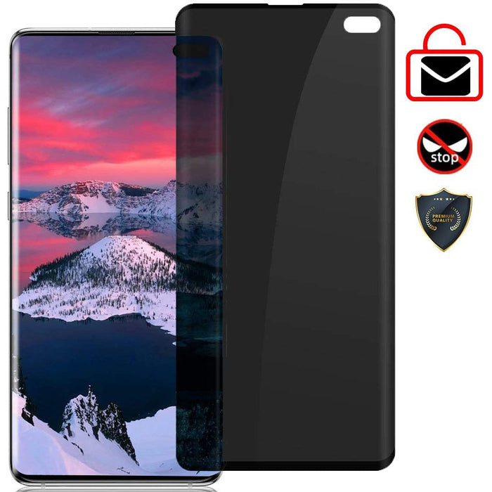 for Galaxy S10+/S10 Plus Tempered Glass Privacy Screen Protector [3D Curved]  [Darken Screen] HD Protective Film for Samsung Galaxy S10+