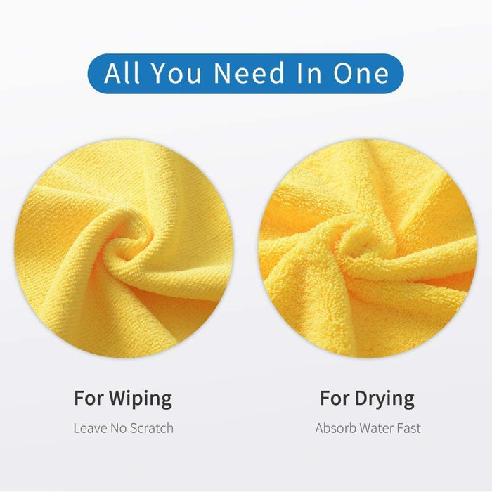 16'' x 16'' Large & Thick Microfiber Cleaning Cloths Strong Absorption (12-Pack), Non-Abrasive Microfiber Towels for Home