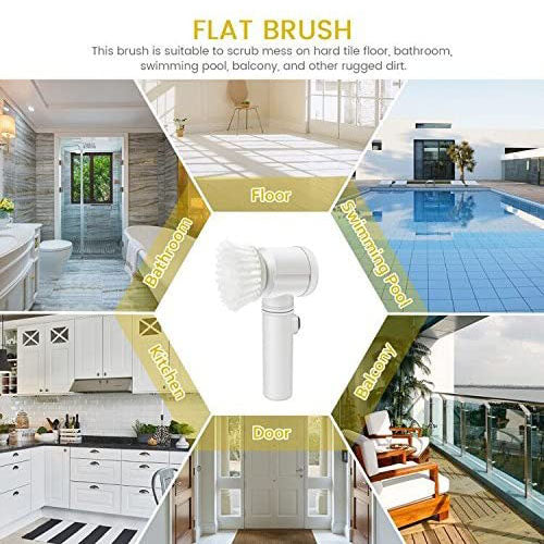 Magic Power Scrubber for Kitchen Bathroom Tub Shower Tile Carpet Bidet Sofas, Cordless Battery Powered Scrubber with PVA Towel & 3 Brush Heads
