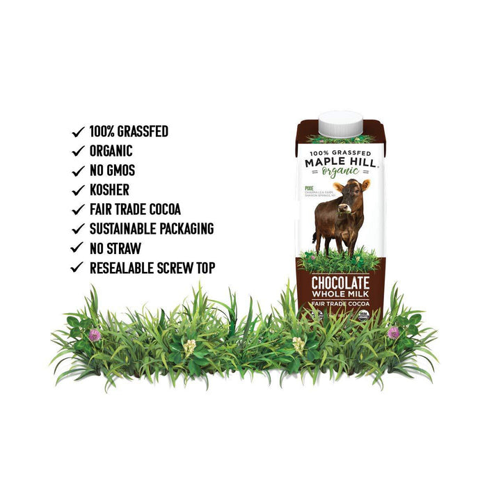 Maple Hill, Shelf Stable Milk, 100% Grass-Fed, Organic-12 pack- 8 oz Cartons Whole Chocolate Milk