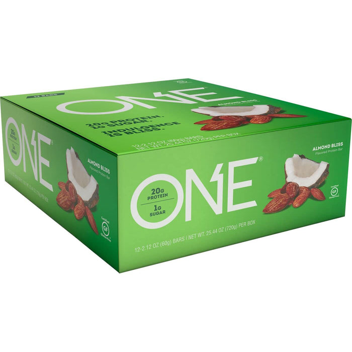 ONE Protein Bars, Almond Bliss, Gluten Free Protein Bars with 20g Protein and only 1g Sugar, 2.12 oz (12 Pack)