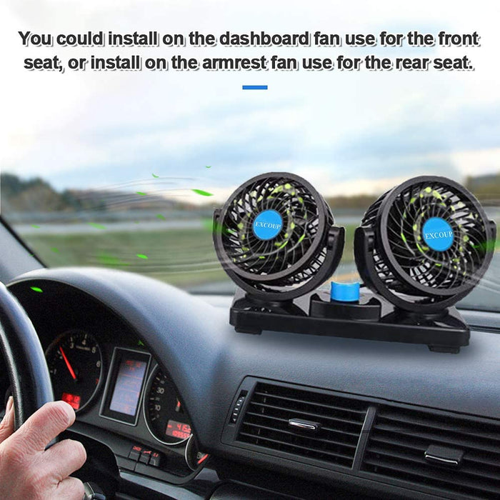 12V Car Fans Cooling Air Fan Powerful Dashboard Electric Car Fan Cigarette Lighter Low Noise 360 Degree Rotatable