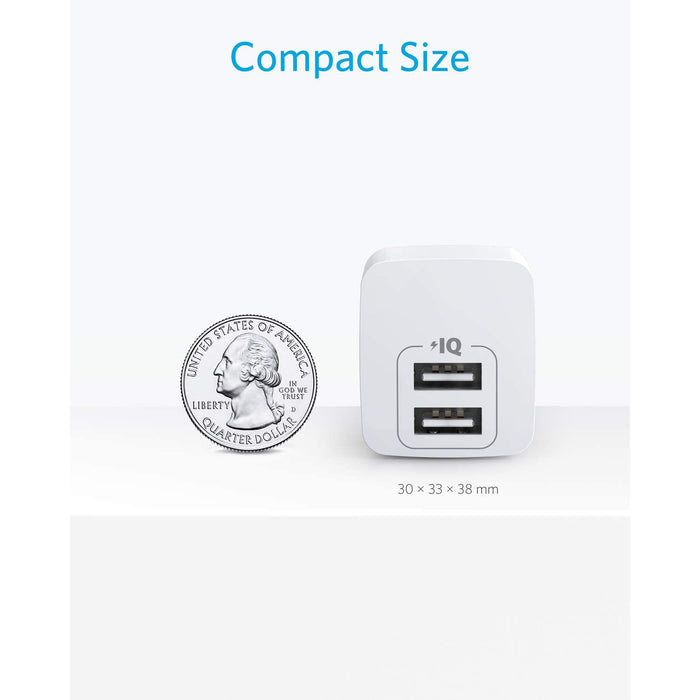 USB Charger, Anker 2-Pack Dual Port 12W Wall Charger with Foldable Plug, for iPhone, iPad, Samsung,HTC, Moto,