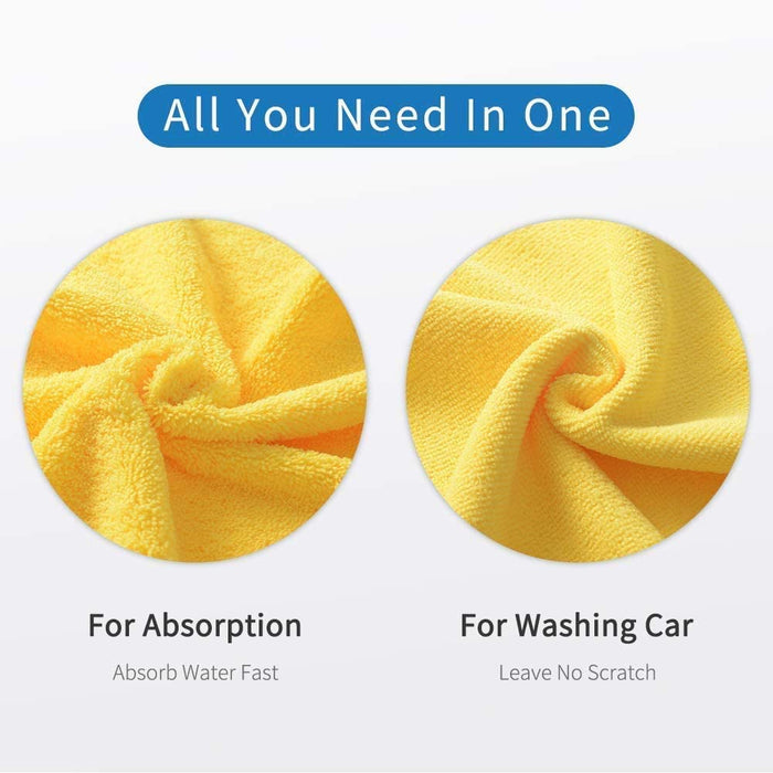 16'' x 16'' Large & Thick Microfiber Cleaning Cloths , Non-Abrasive Microfiber Towels, Cleaning Rags, 6-Pack (Blue, Yellow, Gray)