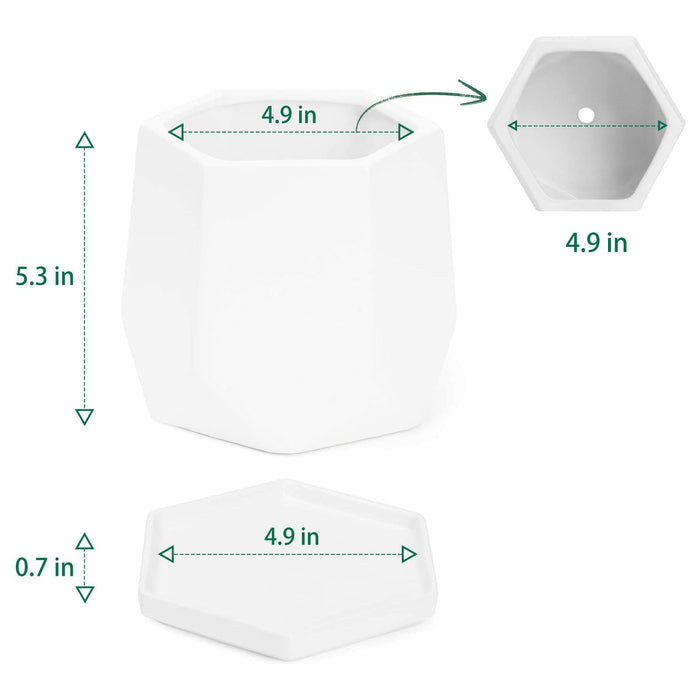 POTEY 051001 Ceramic Plant Pot - 4.9 Inch Glazed Ceramic Modern Hexagon Geometric Planters Indoor Bonsai Container (Matte White)