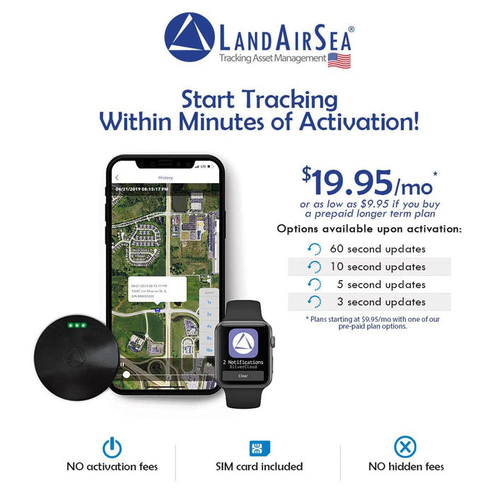 LandAirSea 54 GPS Tracker,USA Manufactured,Waterproof Magnet Mount. Full Global Coverage,4G LTE Real-Time Tracking