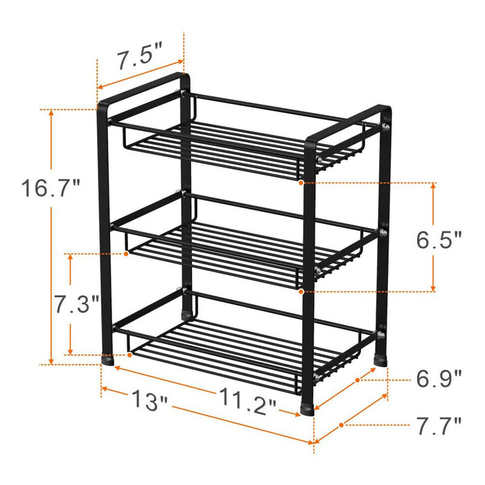 3 Tier Spice Rack, GSlife Stable Spice Shelf for Counter Standing Storage Rack for Kitchen Bathroom, Black