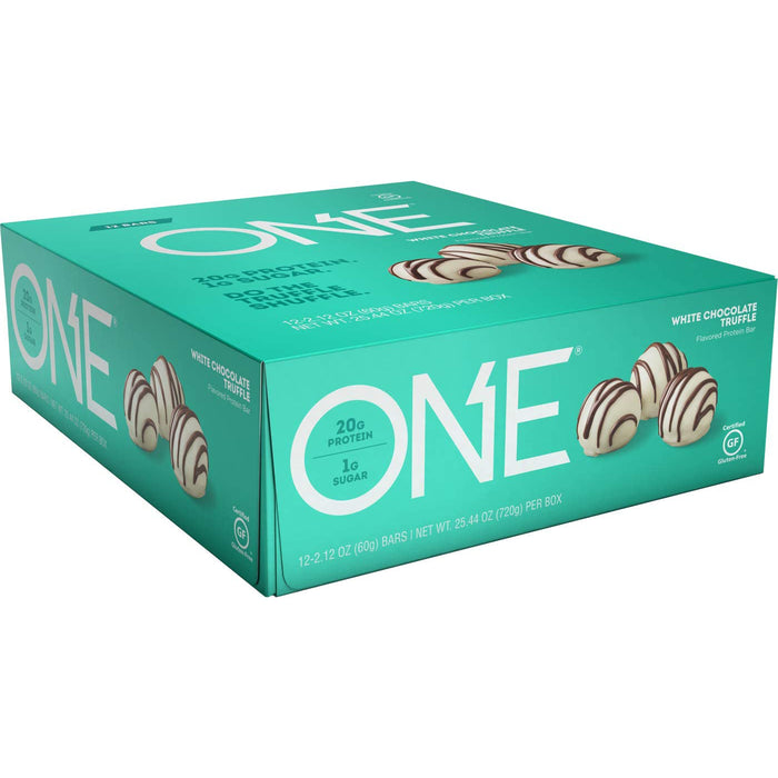 ONE Protein Bars, White Chocolate Truffle, Gluten Free Protein Bars with 20g Protein and only 1g Sugar, 2.12 oz (12 Pack)