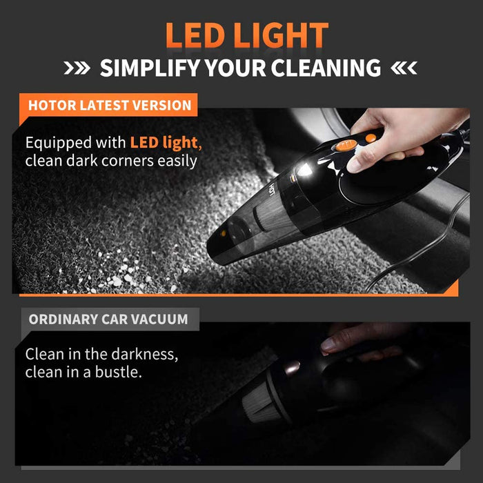 Car Vacuum, HOTOR Corded Car Vacuum Cleaner High Power, DC 12V Portable Auto Vacuum Cleaner for Car Use Only - Orange