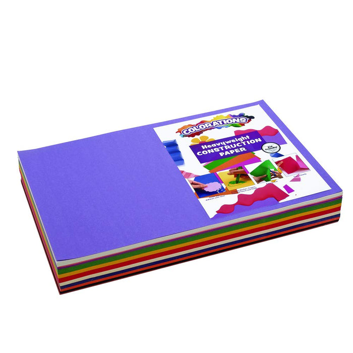 "Colorations Construction Paper Pack, 10 Assorted Colors, 12"" x 18"", 300 sheets, heavyweight construction paper"