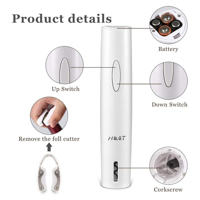 H&QT Electric Wine Opener, Automatic Electric Wine Bottle Opener,with Foil Cutter, 4 AA batteries