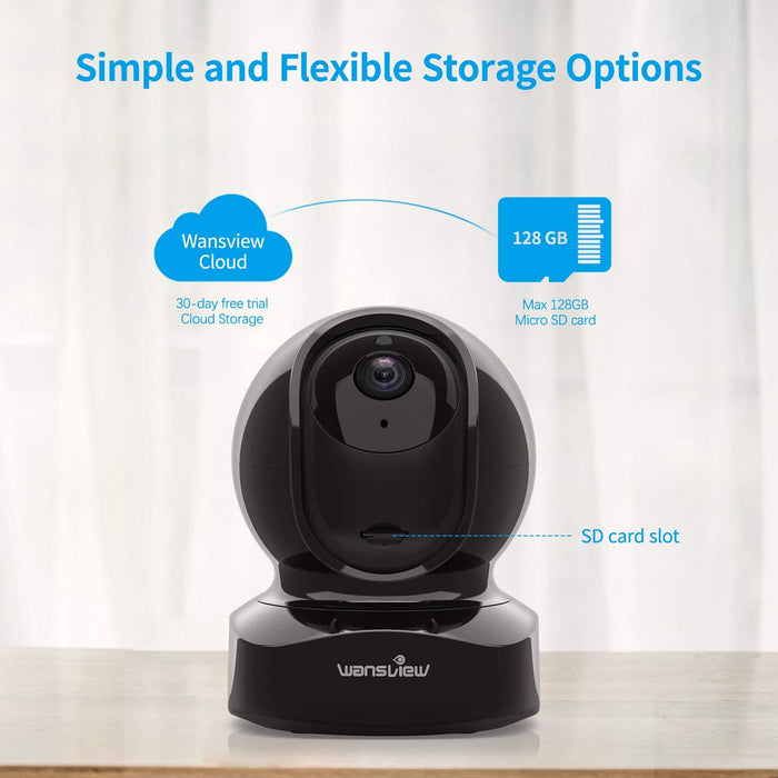 Wansview Wireless Security Camera, IP Camera 1080P HD, Works with Alexa, with TF Card Slot and Cloud