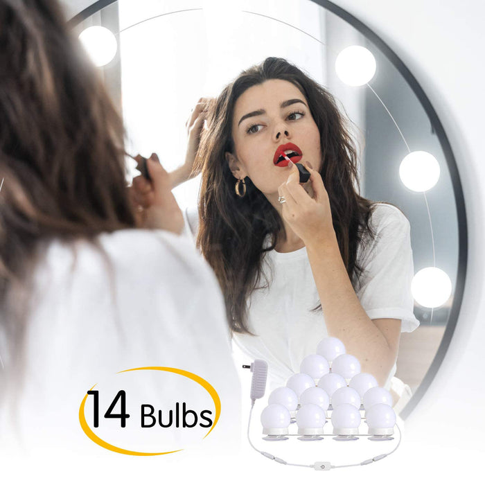 with 14 Dimmable Light Bulbs Plug in Vanity Mirror Lights with Power Supply(White)