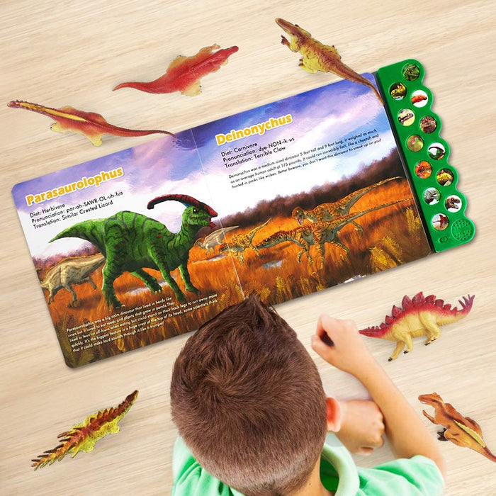 OleFun Dinosaur Toys for 3 Years Old & Up - Dinosaur Sound Book & 12 Realistic Looking Dinosaurs Figures