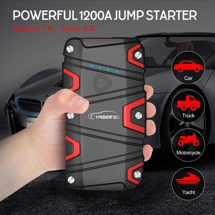 YABER 1200A Peak Car Jump Starter (up to 7.5L Gas/6.0L Diesel) 15000mAh Portable Power Pack with USB Quick Charge 3.0