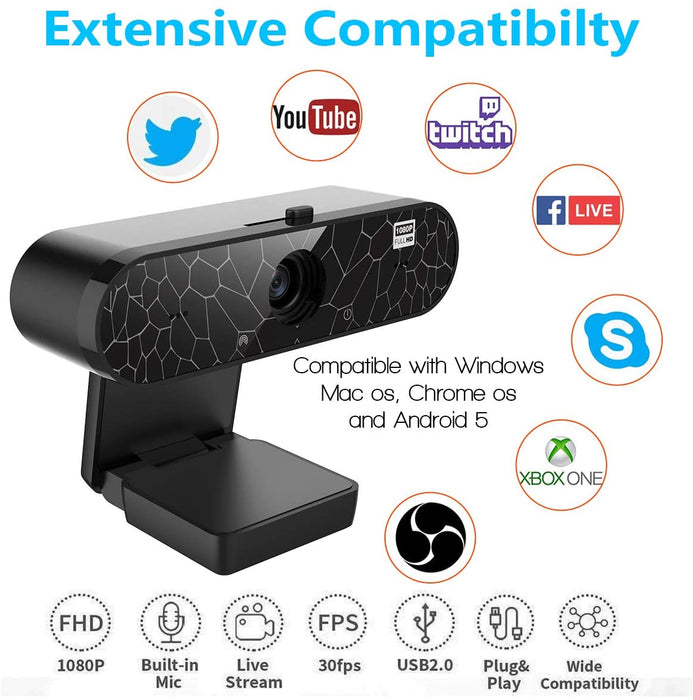 HD 1080P Webcam with Microphone & Privacy Cover, Eonfine Desktop Laptop Computer Camera Auto Light Correction