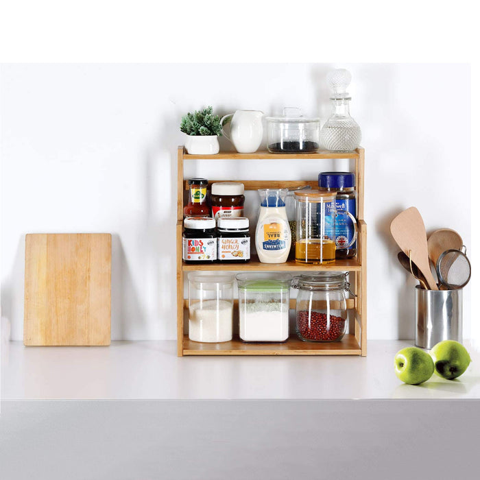 Bamboo Spice Rack Storage Shelves-3 tier Standing pantry Shelf