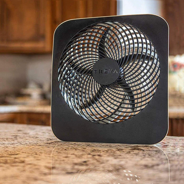 Treva 10-Inch Portable Desktop Air Circulation Battery Fan - 2 Cooling Speeds - With AC Adapter - Batteries Included