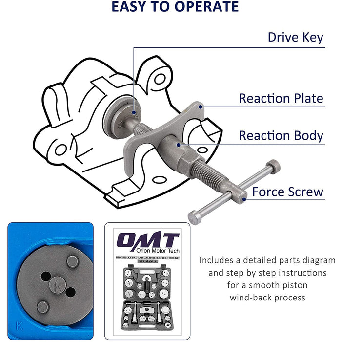 Orion Motor Tech 24-Piece Disc Brake Caliper Tool Kit, Front and Rear Brake Piston Compression Tool