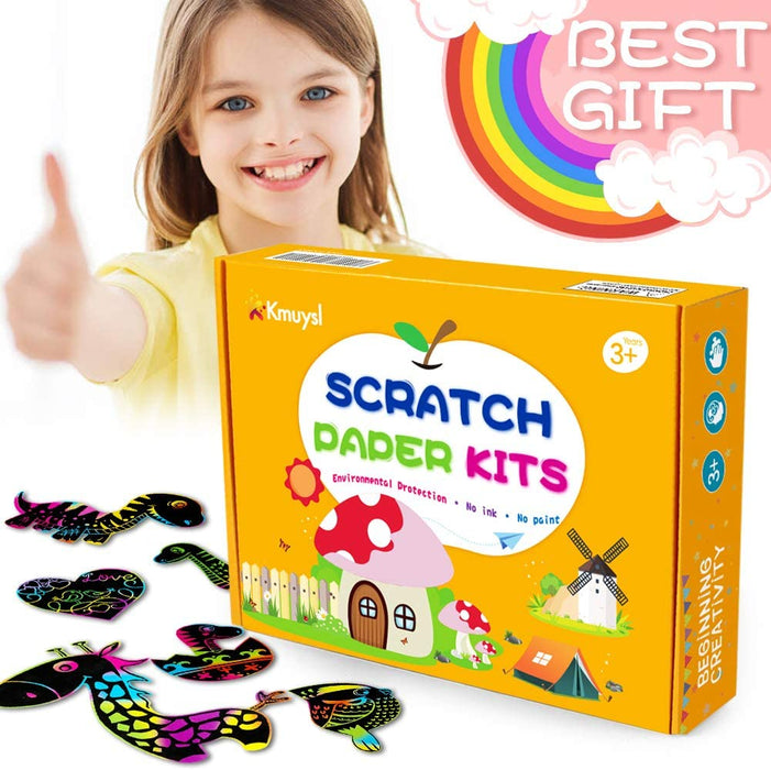 KMUYSL Scratch Art for Kids, Scratch Rainbow Paper Boards Drawing Art Kits - Top Coloring Kits for Kids (114 Pcs)