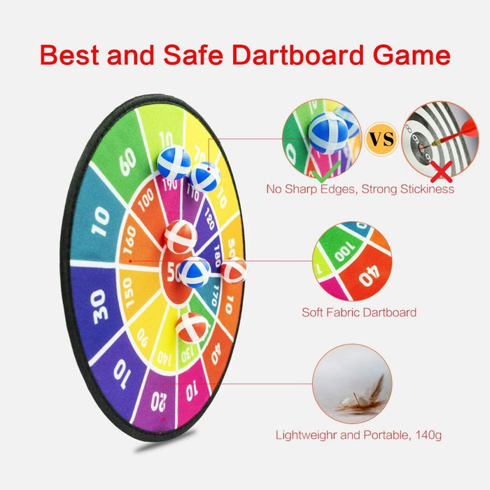 Dart Board for Kids with 12 Sticky Balls, Darts Board Set with Hook, Safe & Classic Toy Gift for Ages 3-Year-Old and Up, 14 Inches