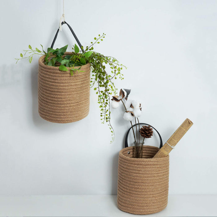"Goodpick 2pack Jute Hanging Basket - 7.87"" x 7"" Small Woven Fern Hanging Basket Flower Plants, Jute Woven Basket"