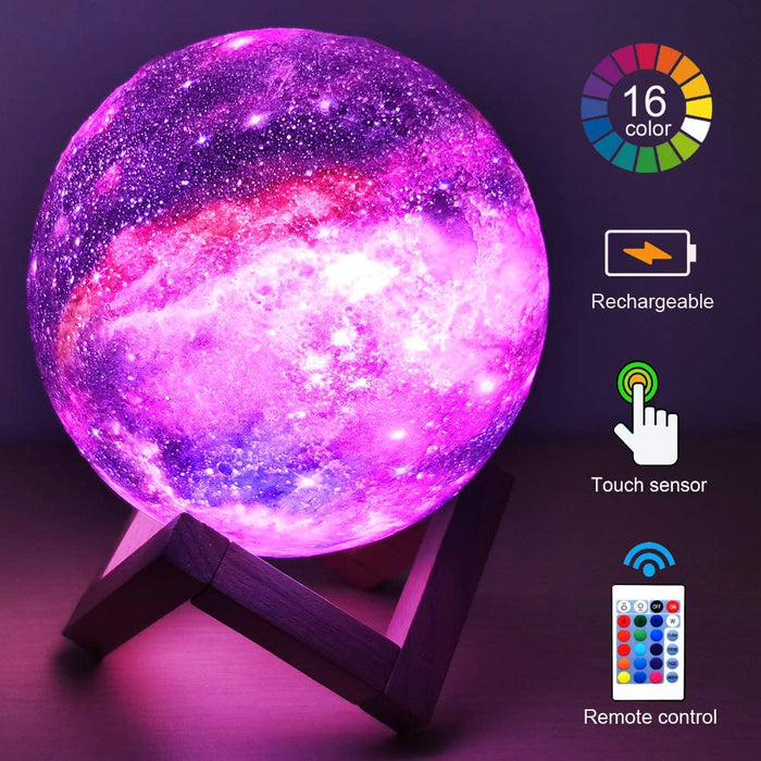 Roll over image to zoom in    HYODREAM 3D Moon Lamp Kids Galaxy Star Night Light 5.9' Globe Light USB Rechargeable Touch & Remote Control