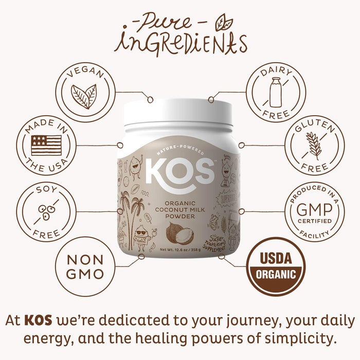 KOS Organic Coconut Milk Powder - Unsweetened, Dairy Free Coffee Creamer - Vegan - Keto & Paleo Friendly - 12.6oz (179 Servings)