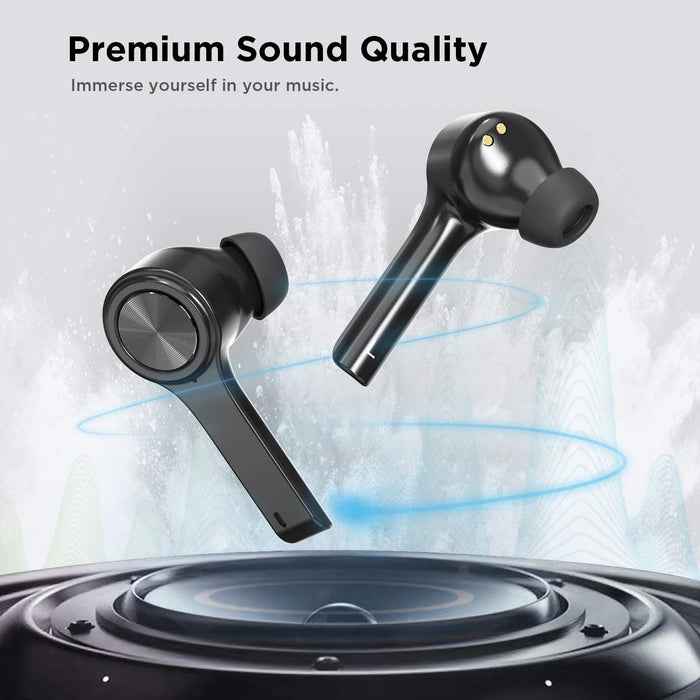 Letsfit Bluetooth 5.0 Headphones TWS Stereo Touch Control Earbuds with Charging Case, IPX5 Waterproof in-Ear Sport Earphones  Black