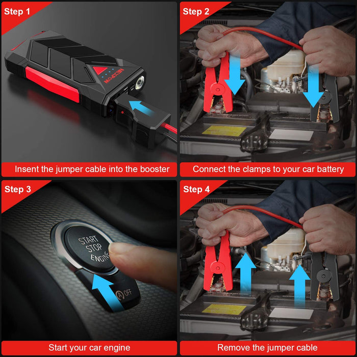 NEXPOW Car Battery Starter, 1000A Peak 12V  USB Quick Charge (Up to 7L Gas or 5.5L Diesel Engine) with Built-in LED Light