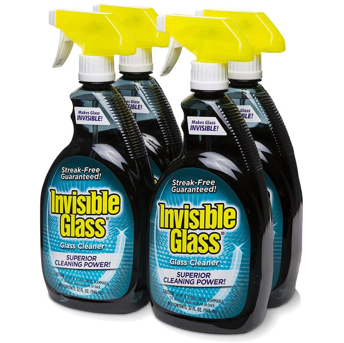 Invisible Glass 92194-4PK 32-Ounce Cleaner and Window Spray for Home and Auto for a Streak-Free Shine Film-Free Glass Cleaner and Safe