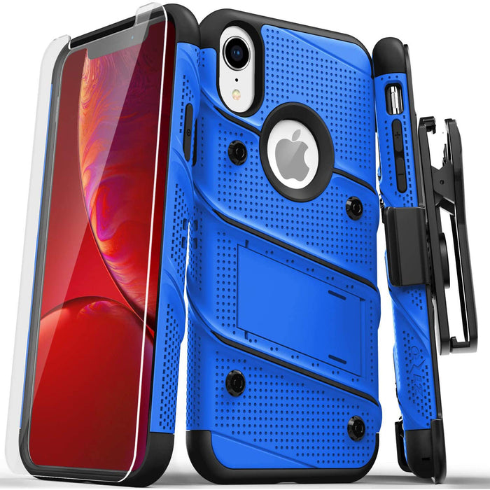 ZIZO Bolt Series for iPhone XR Case Military Grade Drop Tested with Tempered Glass Screen Protector Holster and Kickstand Blue Black