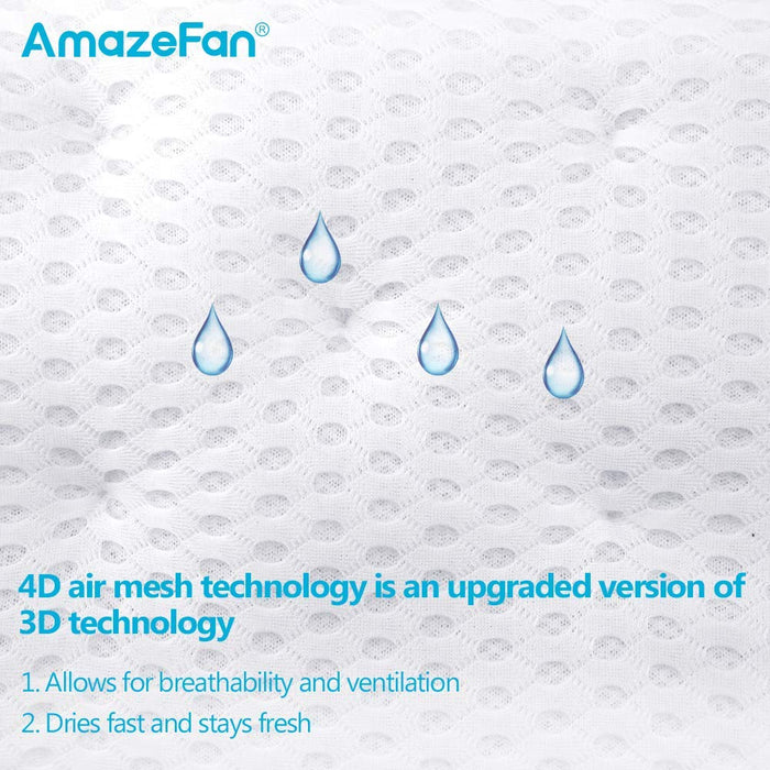 AmazeFan Bath Pillow, Bathtub Spa Pillow with 4D Air Mesh Technology and 7 Suction Cups, Helps Support Head, Back, Shoulder and Neck