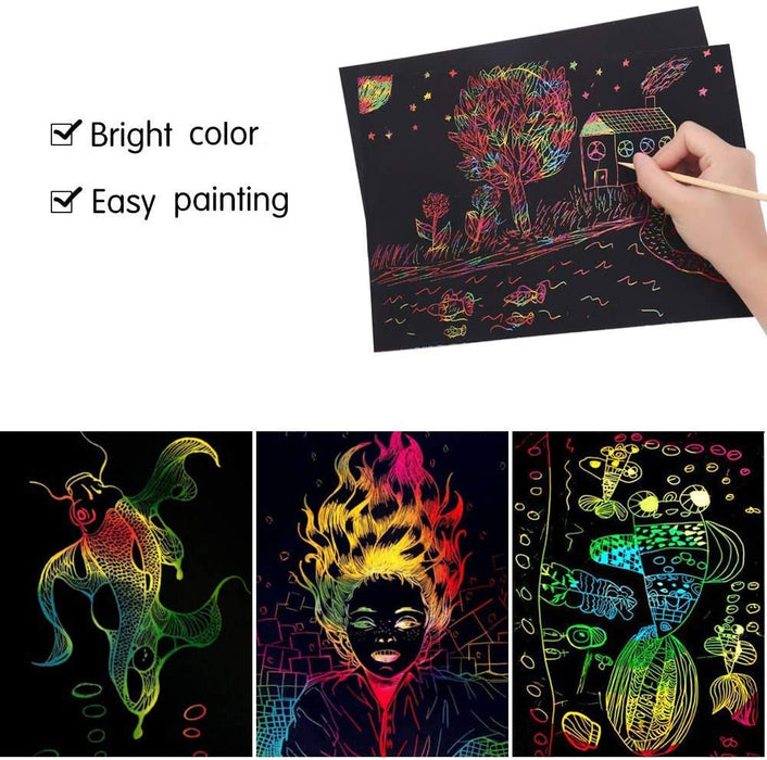 ZMLM Scratch Paper Art Set, 50 Piece Rainbow Magic Scratch Paper for Kids Black Scratch it Off Art Crafts Notes Boards Sheet