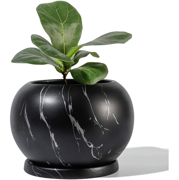 "POTEY Planter Ceramic Plant Flower Pot - 5"" Large Indoor Glazed Container Bonsai with Drainage Hole Saucer - Large Space,"