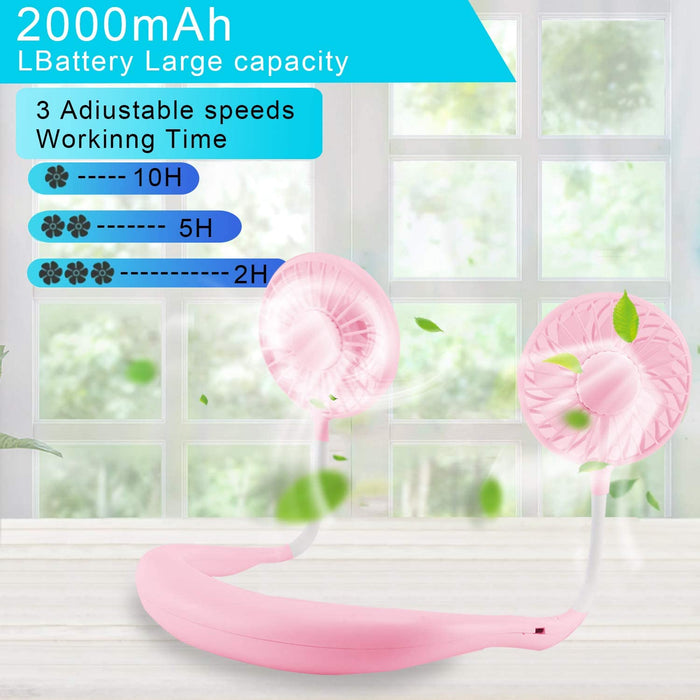 Sports Hand Free Fan Rechargeable Mini USB Fan with 1500mAh Battery, Dual Wind Head for Running Travel Camping Office