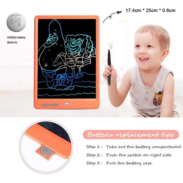 Writing Tablet 10 Inches LCD Writing Board Colorful Screen, Doodle Board Electronic Doodle Pads Drawing Board for Kids and Adults (Orange)