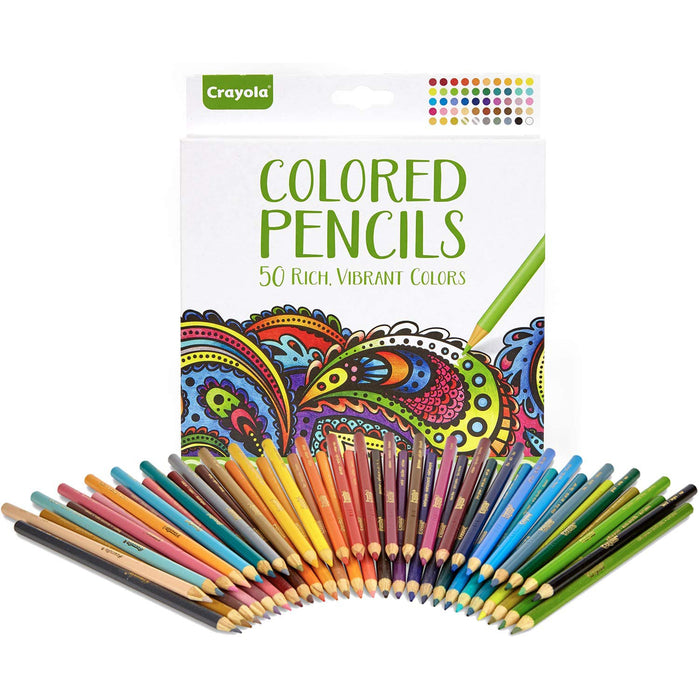 Crayola Colored Pencils, Adult Coloring, Fun At Home Kids Activities, 50 Count