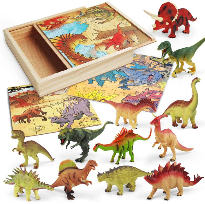 LURLIN 3 in 1 Dinosaur Jigsaw Puzzles in a Wooden Storage Box & 12 Pcs Realistic Dinosaur Figures - Perfect Dinosaur Toys