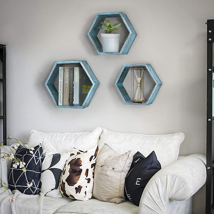 Rustic Wall Mounted Hexagonal Floating Shelves – Set of 3 – Large, Medium and Small – Screws and Anchors Included - Farmhouse Shelves for Bedroom