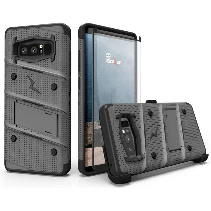 ZIZO Bolt Series for Samsung Galaxy Note 8 Case Military Grade Drop Tested with Tempered Glass Screen Protector Holster Metal Gray Black