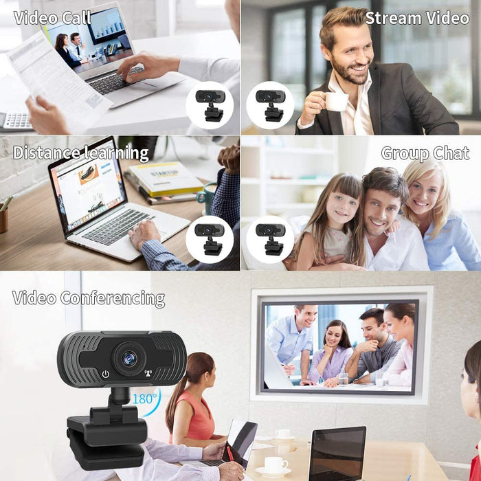 Webcam with Microphone, SDETER Full HD 1080P Web Cameras for Computers, Web Cam