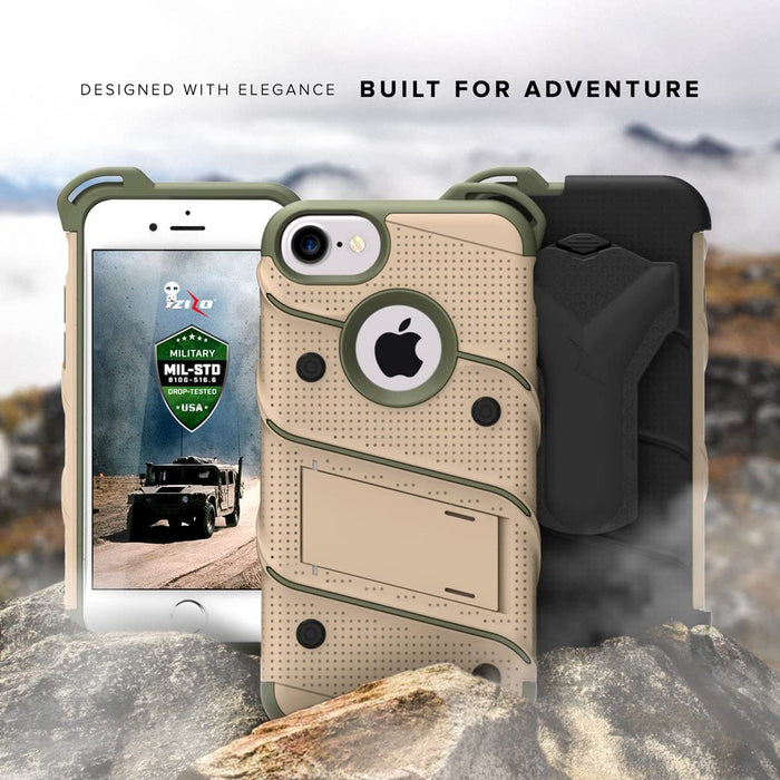 iPhone 8 Case/iPhone 7 Case by Zizo [Bolt Series] w/ [iPhone 8 Screen Protector ] Kickstand [12 ft. Military Grade Drop Tested]