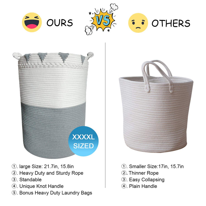 "TerriTrophy XXXL Large Laundry Hamper with Handles Tall Basket Cotton Rope Basket 22""x16""x 16"""