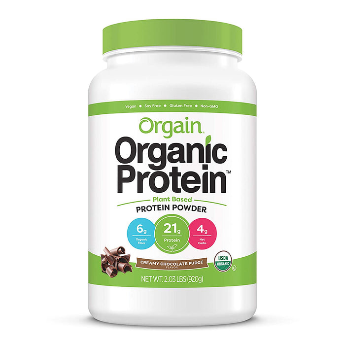 Orgain Organic Plant Based Protein Powder, Creamy Chocolate Fudge - Vegan, Low Net Carbs, Non-GMO, 2.03 Pound